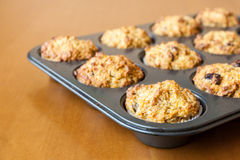 Gluten free muffins on roasting pan Stock Photo