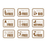 Gluten Free, Natural Product Label Stock Photo