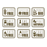 Gluten Free, Natural Product Label Royalty Free Stock Photos