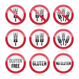 Gluten free, no gluten warning  signs Royalty Free Stock Images