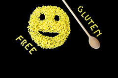 Gluten free pasta on a black background Royalty Free Stock Photos