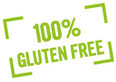 100% Gluten Free. 100 percent gluten free stamp in green Royalty Free Stock Photo