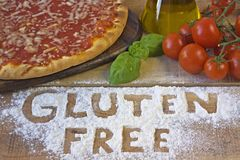 A gluten free pizza on background Royalty Free Stock Photos
