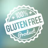 Gluten FREE Product rubber stamp white on a blue bokeh background. Gluten FREE Product rubber stamp white on a blue bokeh background royalty free illustration