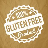 Gluten FREE Product rubber stamp white on a crumpled paper brown background. Gluten FREE Product rubber stamp white on a crumpled paper brown background stock illustration