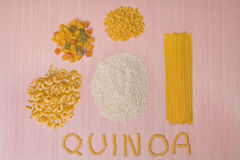 Gluten-Free Quinoa Grains & Various Pastas Stock Photography