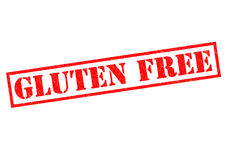 GLUTEN FREE. Red Rubber stamp over a white background Stock Photo