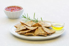 Gluten free rosemary olive oil crackers Stock Photos