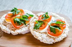 Gluten-free sandwiches with mozzarella and tomatoes Royalty Free Stock Photos
