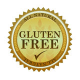 Gluten Free Seal. Illustration of an all natural gluten free seal and text Stock Photos