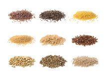 Gluten free seeds. Isolated on a white background stock image