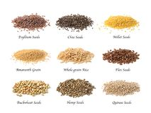 Gluten free seeds. Isolated on a white background royalty free stock photo