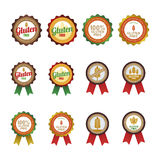 Gluten free. Set of gluten free labels on a white background. Vector illustration Royalty Free Stock Photo