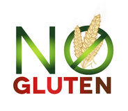 Gluten free sign, health care diet. Green and red colors, bright design Stock Photo
