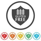 Gluten Free Sign Icon, 6 Colors Included. Simple  icons set Stock Photo