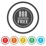 Gluten Free Sign Icon, 6 Colors Included. Simple vector icons set Stock Photography