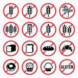 Gluten free signs, no wheat, no bread, no cake signs Royalty Free Stock Images