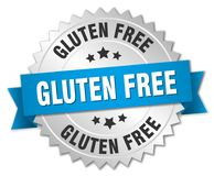 Gluten free. Silver badge with blue ribbon royalty free illustration