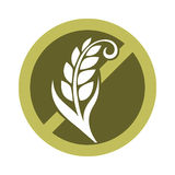 Gluten free substance in cereal grains logo in crossed circle. Gluten free substance in cereal grains logo design in prohibiting circle with crossed wheat vector stock illustration