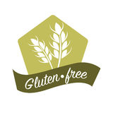 Gluten free substance in cereal grains logo design with wheat. Gluten free substance in cereal grains logo design with two ears of wheat and text vector stock illustration