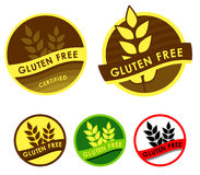 Gluten free symbols. Set of five gluten free symbols on white Stock Images
