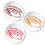 Gluten free symbols  on white background. Circular stickers with silhouettes of bread with spikelet. Stock Images