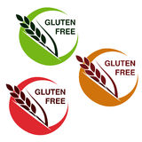 Gluten free symbols  on white background. Circular stickers with spikelet. Stock Images