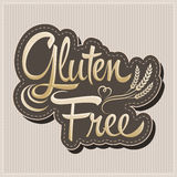 Gluten Free - vector lettering label with wheat Stock Images