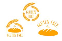 Fresh loaf of bread with gluten free hand drawn typography. royalty free illustration