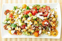 Gluten free vegetarian salad made with quinoa, chickpeas, feta Stock Photography
