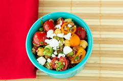 Gluten free vegetarian salad made with quinoa, chickpeas, feta a Stock Photos