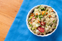 Gluten free vegetarian salad, quinoa  and fresh heirloo Royalty Free Stock Photos
