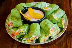 Gluten-Free Vegetarian Veggie Wraps Stock Photo