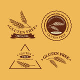 Gluten free and wheat labels. Retro design. Royalty Free Stock Photography