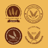 Gluten free and wheat labels. Retro design. Gluten free and wheat labels. Vector with graphic elements Royalty Free Stock Images
