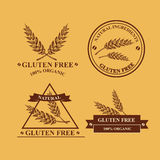 Gluten free and wheat labels. Retro design. Stock Photo