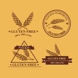 Gluten free and wheat labels. Retro design. Stock Photo