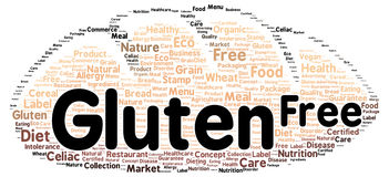 Gluten free word cloud shape Royalty Free Stock Photos