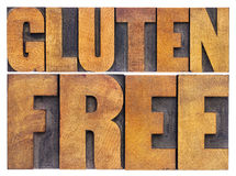 Gluten free words in wood type Royalty Free Stock Image