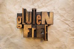 Gluten Free. The words Gluten Free written in vintage letterpress wood type Royalty Free Stock Photography