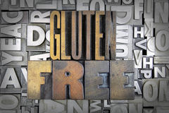Gluten Free. Written in vintage letterpress type royalty free stock photo