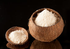 Gluten-fritt kokosnötmjöl royaltyfri fotografi
