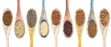 Gluten frre grains and seeds. A collection of gluten free grains and seeds on isolated wooden spoons - kaniwa, sorghum, chia, amaranth,red quinoa, black quinoa Royalty Free Stock Photography