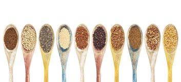 Gluten frre korrels en zaden Stock Foto