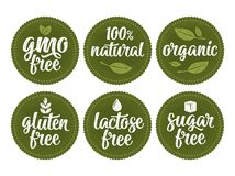 Gluten, lactose, sugar, gmo free lettering. Sign 100 natural organic food. Gluten, lactose, sugar, Gmo free lettering with leaf, cube, drop. Vector white vintage royalty free illustration