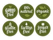 Gluten, lactose, suiker, gmo het vrije van letters voorzien Teken 100 natuurlijke natuurvoeding Royalty-vrije Illustratie