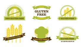 Gluten libre - insignias stock de ilustración