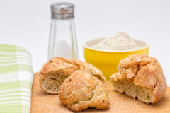 Gluten's buns and oat bran. On the background: salt and flour stock photos