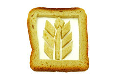 Gluten. Symbolic photo with wheat from bread slice on white  background. Gluten. Symbolic photo with wheat from bread slice Stock Photo