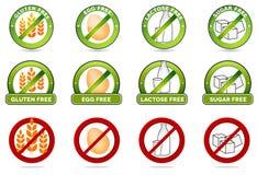 Gluten uwalnia swobodnie, jajko, laktoza i cukier, swobodnie swobodnie Obraz Royalty Free